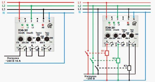 Автоматический электронный переключатель фаз ПЭФ-301 схема